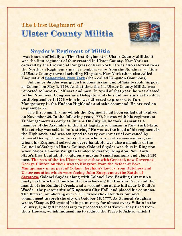 The First Regi. of the Ulster County Militia