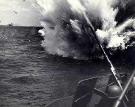 Splash down of a Japanese aircraft shot down by the USS Horent CV12 during WW2