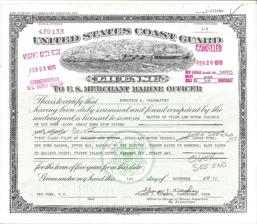 1000 ton License issued to Dominick Giarraputo
